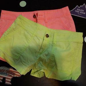 2 pairs of Arizona Jean shorts Yellow and Pink